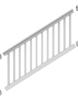 "36"" High x 6' Long White"" T Style Vinyl STAIR Railing"