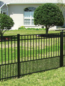 4' H x 6' W Flat Top Puppy Picket Aluminum Fence Panel Black