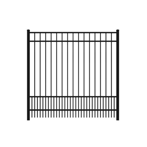 6' H x 6' W Flat top Puppy Picket Aluminum Fence Panel Black