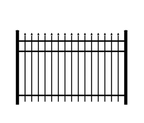 5' H x 6' W Huntington Aluminum Fence Panel Black