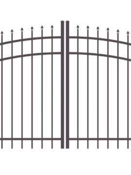 4' H x 10' W Tioga Double Drive Single Arch Gate Black