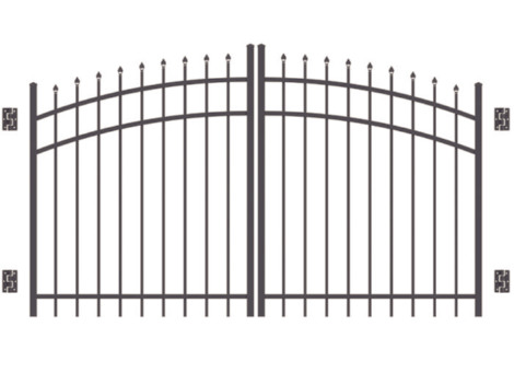 5' H x 10' W Bradford Double Drive Single Arched Gate Pewter