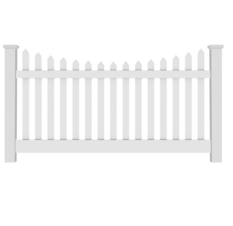 4' H x 8' W Richmond Picket Contemporary Scallop White