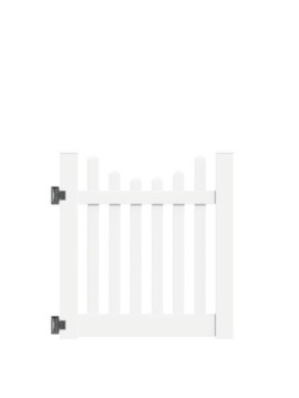 "4'x46"" Richmond Picket Scallop Walk Gate White"