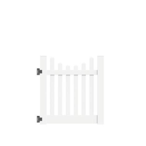 "4'x46"" New Bedford Picket Scallop Walk Gate White"