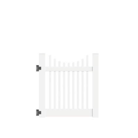 "4'x46"" Wharton Creek Picket Scallop Walk Gate White"