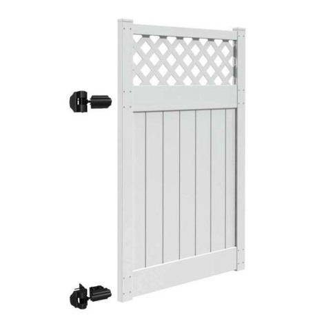 "6'x58"" Harrington Walk Gate White"