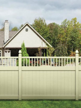 6' H x 8' W Chestertown Privacy Fence Closed Spindle Panel Beige