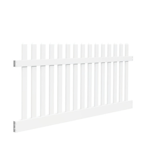 4' H x 8' W New Bedford Picket Contemporary DE Scallop White