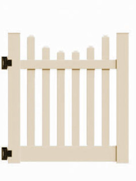 "4'x46"" New Bedford Picket Scallop Walk Gate Beige"