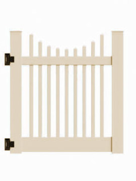 "4'x46"" Wharton Creek Picket Scallop Walk Gate Tan"