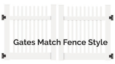 4' H x 10' W Wharton Creek Picket Scallop Double Drive Gate White