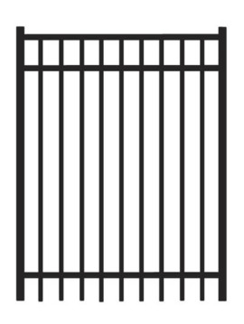 6' H x 4' W Bradford Straight Gate Black