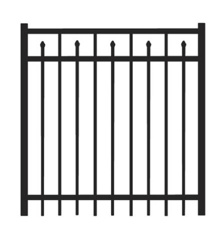 4' H x 5' W Clearfield Straight Gate Black