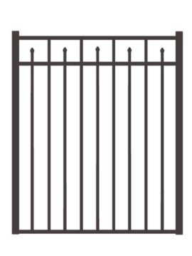 "54"" H x 4'W Clearfield Straight Gate  Black"