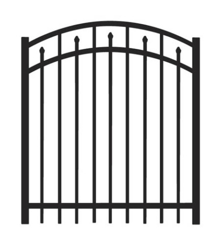5' H x 5 W Clearfield Arched Gate  Black